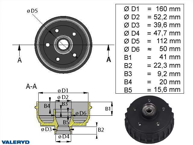 Brake drum 160 mm 5x112 inch