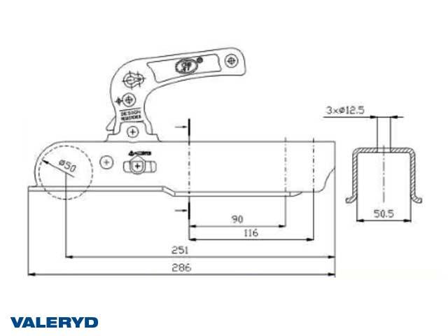 Kulkoppling 1200 kg, Fyrkant 50mm, Vertikal hålbild CC=90/116