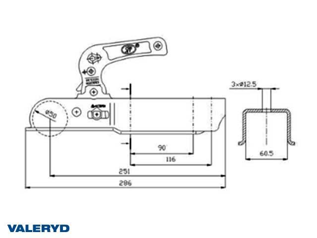 Kulkoppling 1200 kg, Fyrkant 60mm, Vertikal hålbild CC=90/116