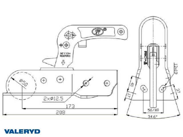 Kulkoppling 750 kg V-formad anslutning horisontal/vertikal hålbild CC= 40/50