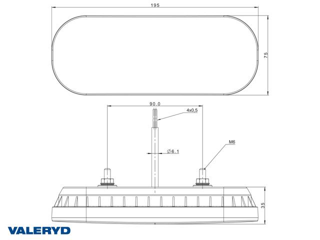 LED Rücklicht R/L 195x75x35, 12/36V, mit 500mm Kabel
