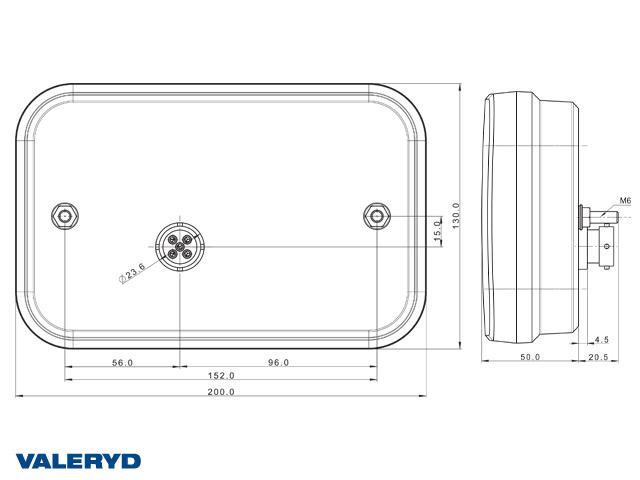 LED Rücklicht R 200x130x50 , 12V, Bajonettanschluss 5pol.