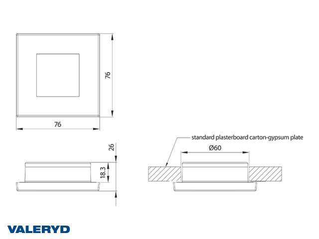 LED Innebelysning firkantet 76x76 sølv