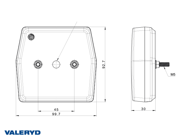 LED Rückfahrleuchte 99,7 x 92,7 x 30, Kabel 1 m, 12 V, 2 x M5-Schraubanschluss, CC = 45 mm