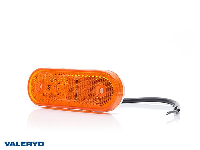 LED Sidemarkeringslykt WAŚ Hø/Ve 63x114x40 gul 220mm kabel