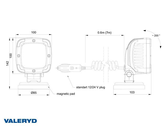 LED Arbeidsbelysning aluminium 2800 Lm, 12/24V kobling til sigarettenneren. 7m kabel. Magnetfeste