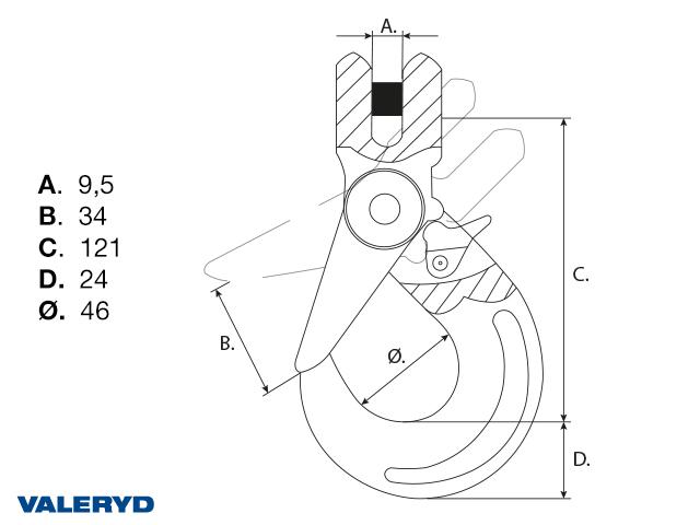 Haarukkaliittimellinen varmuuskoukku luokka G80 7/8-8mm, 2 ton