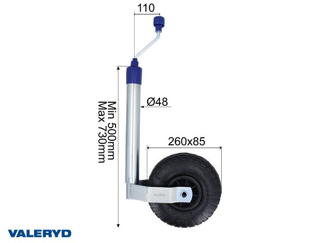 Tukipyörä Ø48mm muovivanne. ilmakumipyörät 260x85mm