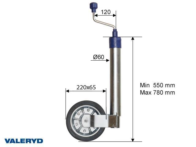 Tukipyörä Ø60mm teräsvanne. Umpikumi pyörän 215x65mm. Kantavuus 250kg