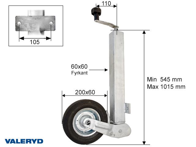 Støttehjul 60mm firkantet - Aut. folding. Pladefælg. Fuld Gummi hjul 200x60mm. Load 200kg