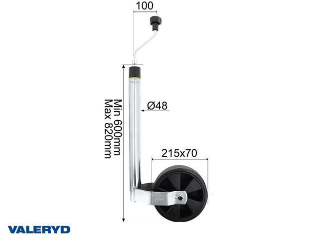Tukipyörä Ø48mm muovivanne. Umpikumi pyörän 215x70mm Vaakalla