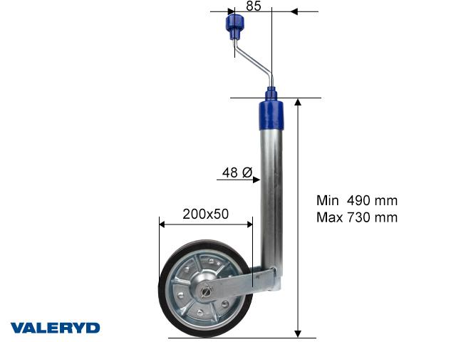 Tukipyörä Ø48 mm, teräsvanne. Täyskumipyörä 200x50 mm. Kantavuus 300kg