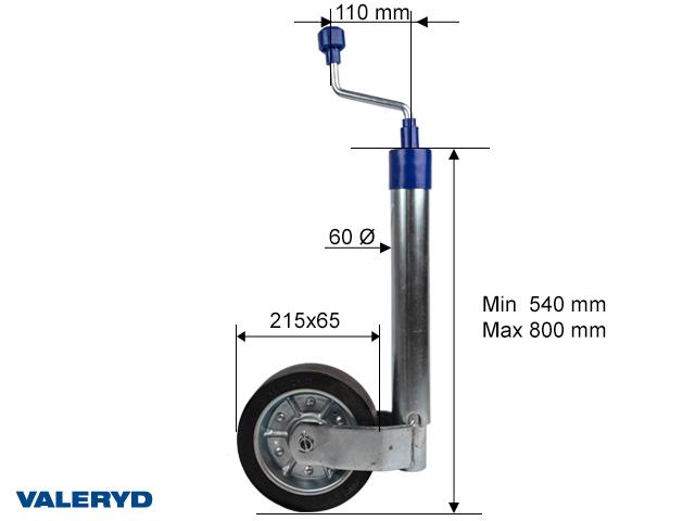 Støttehjul Ø60mm med pladefælg. Fuld Gummi hjul 215x65mm. Load 500kg