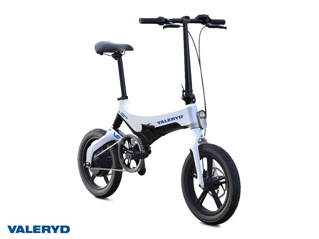 3 stk. Elsykler: svart, blå, hvit. V6 foldbar, pedalaktivert elmotor, ca. 65 km rekkevidde