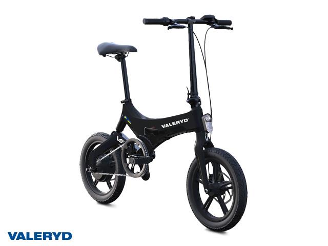 Elsykkel Valeryd V6 svart foldbar, pedalaktivert elmotor, ca. 65 km rekkevidde