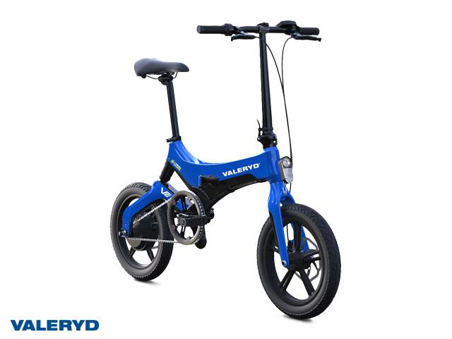 Elsykkel Valeryd V6 blå foldbar, pedalaktivert elmotor, ca. 65 km rekkevidde