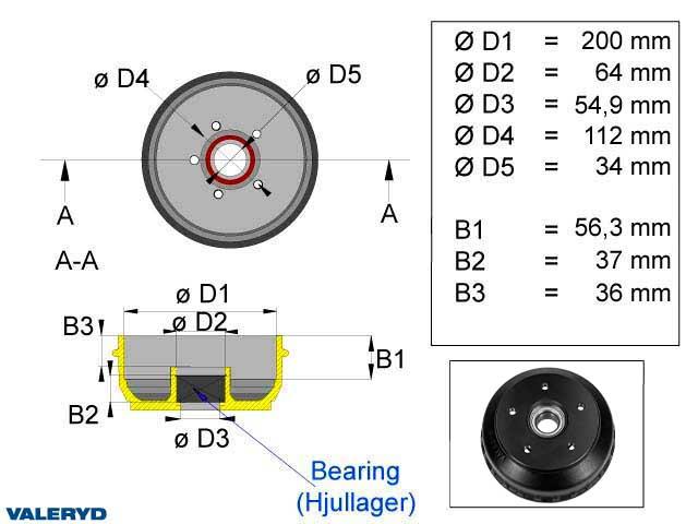 Bromstrumma 200x50 5x112 passar till AL-KO Euro Kompaktlager