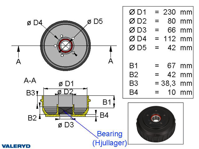 Bromstrumma 230x60 5x112 AL-KO Euro plus Kompaktlager