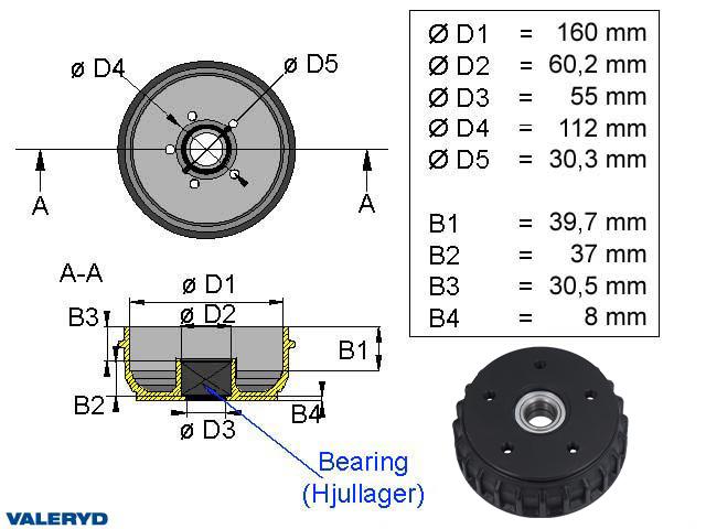 Bromstrumma 160x35 5x112 passar till AL-KO Euro Kompaktlager