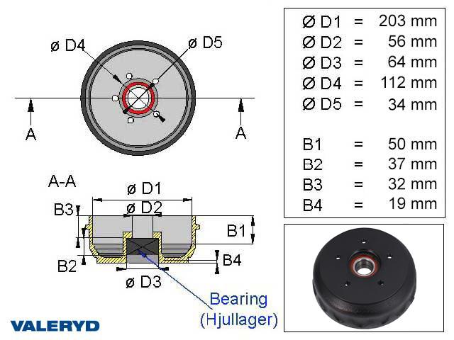 Bromstrumma 203x40 5x112 Knott Kompaktlager