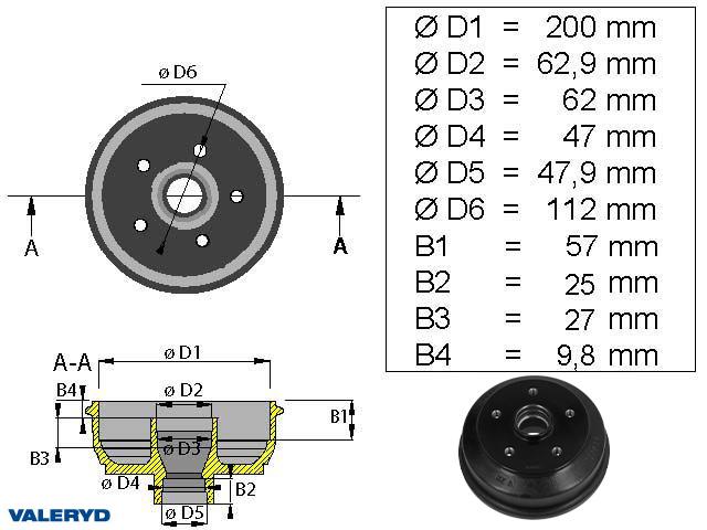 Bromstrumma 200x50 5x112 Bpw/Peitz S2005-5 mm-lager