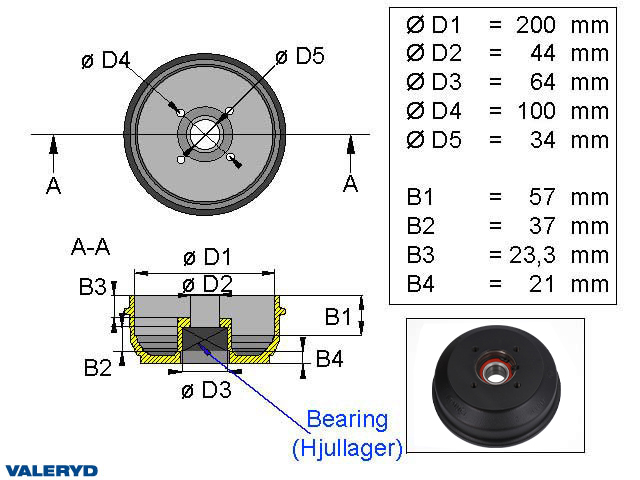 Bromstrumma 200x50 4x100 BPW S2005-5 Kompaktlager