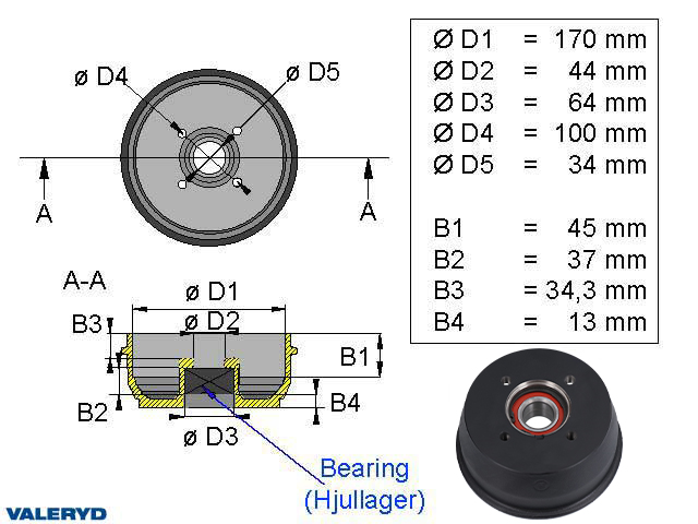 Bromstrumma 170x40 4x100 BPW S1704-7 Kompaktlager
