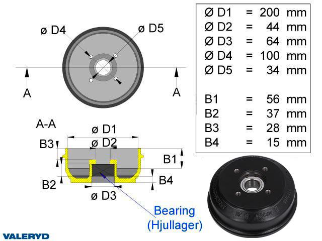 Bromstrumma 200x50 4x100 passar till BPW S2005-7 Kompaktlager