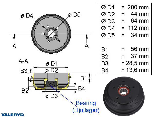 Bromstrumma 200x50 5x112 passar till BPW S2005-7 1350 kg Kompaktlager
