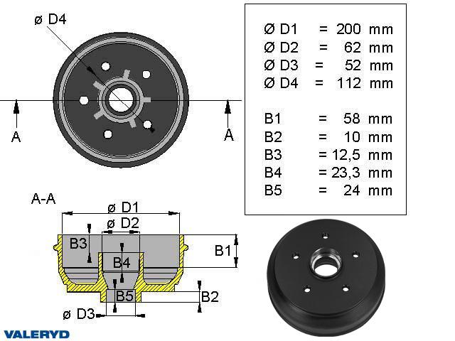 Bromstrumma 200x50 5x112 Knott/Nieper mm-lager