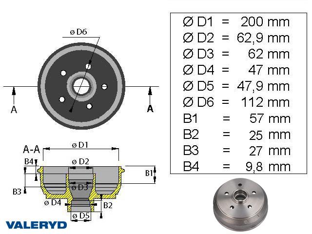 Bromstrumma 200x50 5x112 passar till BPW/Peitz med Knottbroms mm-lager; utan gänga för hjulbult