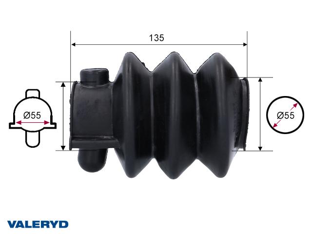 Gummibälg passar till Knott/Avonride svart 55/55 L=135 Bredd/Höjd vid kulhandske = 83,4/93,2