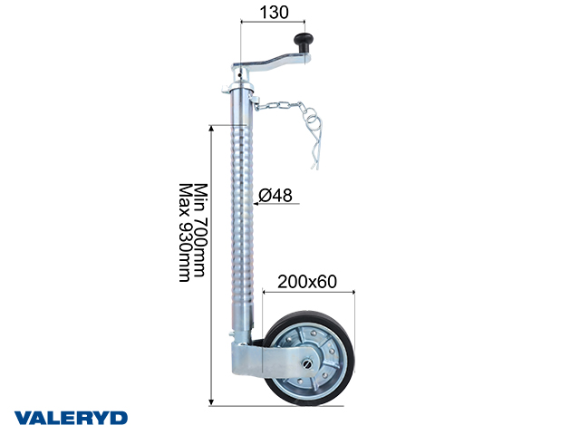 Jockey wheel SS Ø48 mm Metal rim. Solid rubber wheel 200x60 mm. Support load 200 kg