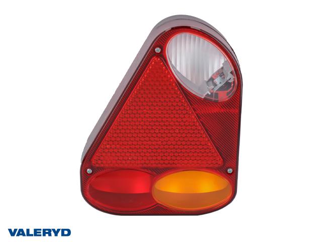 Baklampa passar till Jokon Ear Vä 220x175x53 med triangelreflex och backljus, kabelgenomf.