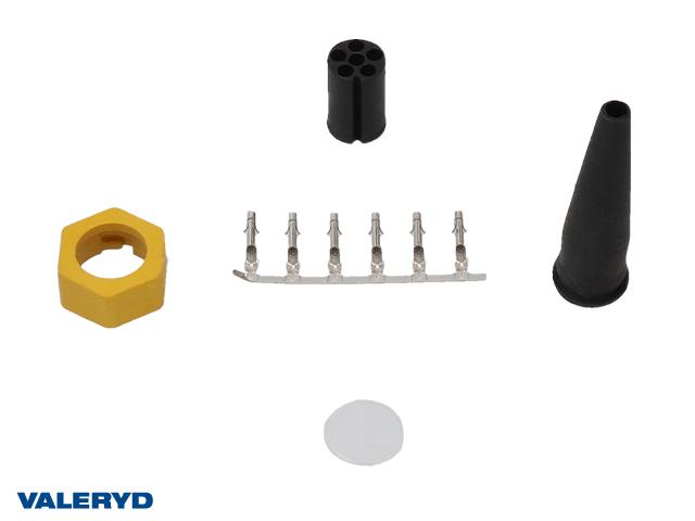 Bajonettkontakt Aspöck/Fristom 6-pol vänster/gul, invändig låsning