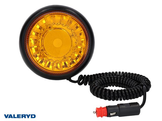LED Varningslampa gul. Kabel 7,8m med koppling för cigarettuttag. Magnetfäste