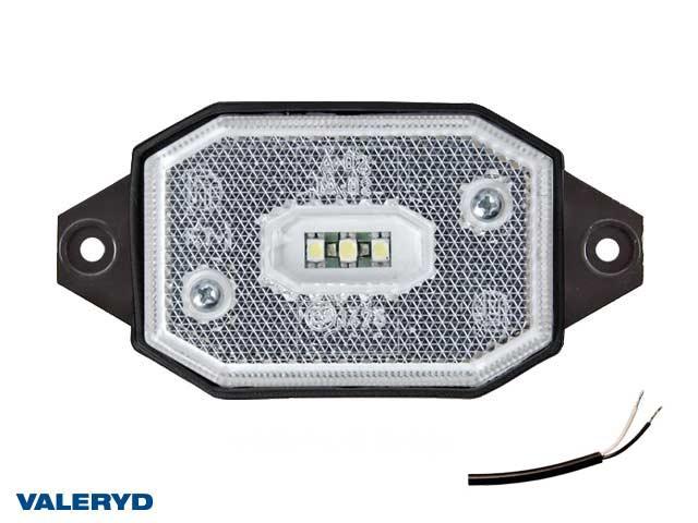 LED Positionsljus Valeryd 65x42x30 vit med fäste CC=86mm, 12-30V inkl. 450mm kabel