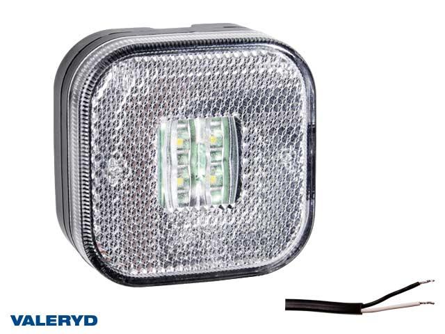 LED Positionsljus Valeryd 62x62x27 vit med reflex 12-30V inkl. 450mm kabel