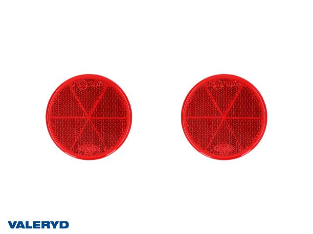 Rund reflex 60 mm röd självhäftande (2-pack)