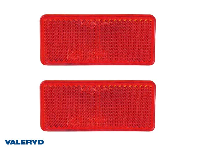 Rektangulär reflex 90x40 mm röd självhäftande (2-pack)