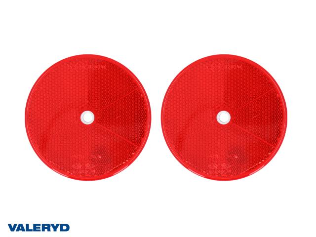 Rund reflex 80 mm röd självhäftande och skruvhål (2-pack)