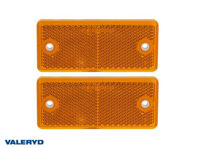 Rektangulär reflex 90x40 gul skruvhål (2-pack)