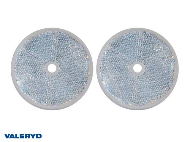 Rund reflex 60 mm vit skruvhål (2-pack)