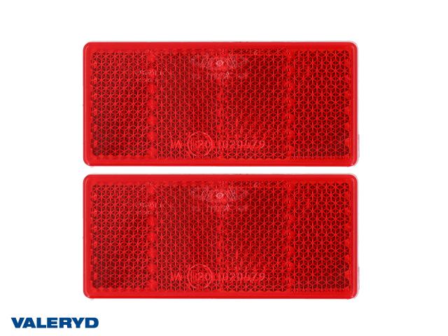 Rektangulär reflex 69x31,5 röd självhäftande (2-pack)