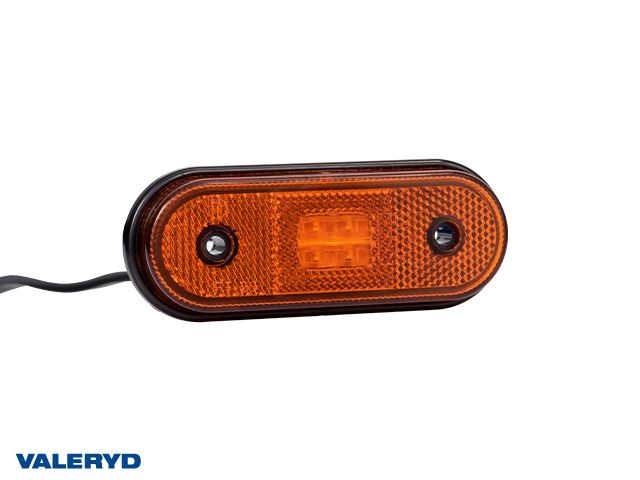 LED Sidomarkeringslykta Valeryd 120x46x18 gul 12-30V med reflex inkl. 450 mm kabel