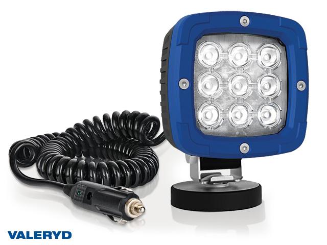 LED Arbetslampa aluminium 2800 Lm, 12/24V med koppling för cigarettuttag 3m kabel. Magnetfäste