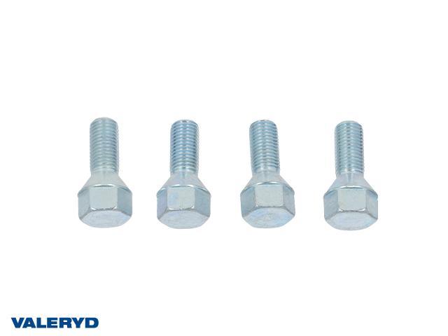 Hjulbult M12x1,5 Universal. Gänglängd 25mm. Totallängd 43mm. Nyckelvidd 19mm, (4-pack)