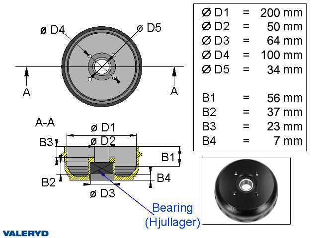 Bromstrumma 200x50 4x100 Passar till Knott/Schlegl Kompaktlager
