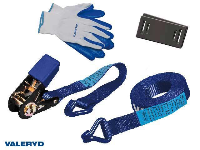 Spännbandsset 25mm med krok, 0,3+4,7m, inkl. handskar och 2 kantskydd - 800kg