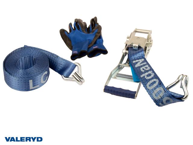 Spännbandsset 50mm med dubbla J-krokar, långt handtag. Längd 0,5+5,5m. 2500 kg (daN)